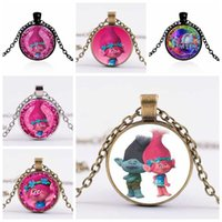 Wholesale Style Necklace Long - New Style of Fairy Fancy Cute Silver Trolls poppy branck Crystal Necklace Jewelry Body Long Chain Jewelry Cartoon For Child gift