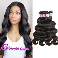 Barato Cabelo Virgem Indiano-Raw Indian Virgin Human Hair 4 Pacotes Ofertas Body Wave 400g / Lot Colorful Queen 7A Extensões de cabelo humano Virgin Indian Hair Weave Bodywave