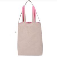 Wholesale Digital Ear - Cotton Linen Easter Bunny Ears Basket Bag For Easter Gift Packing Easter Handbag For Child Fine Festival Gift 255*305*100mm