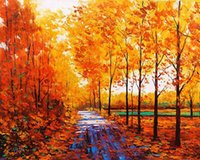 Wholesale Landscape Scenery Paintings - 5D needlework Diy diamond painting cross stitch kits full resin square diamond embroidery Mosaic Home Decor scenery Maple Grove zf0156