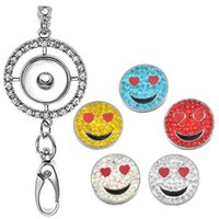 boynuzlar gülümsemek toptan satış-Bayan Ofis İpi KIMLIK Rozetleri Tutucu Kolye ile 5 adet Gülümseme Rhinestone Snaps Charm Takı Kolye N175S