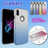 Glitter gradiente híbrido Bling Shiny 3 em 1 caso TPU + PC Tampa traseira colorida Protetor de flash para iPhone X 8 7 Plus 6 6S Samsung Note 8 S8