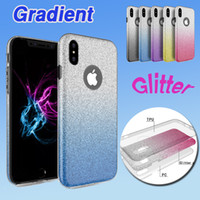 Wholesale Iphone Colorful Plastic Backs - Hybrid Gradient Glitter Bling Shiny 3 in 1 Case TPU+PC Colorful Back Cover Flash Protector For iPhone X 8 7 Plus 6 6S Samsung Note 8 S8