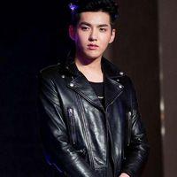 Wholesale Men S Pu Coats - Wu Yifan with a slim black cool jacket PU&Cotton Blend material coat