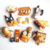 Wholesale Home Decoration Sticker Fruit - 3D Food series Fridge magnet magnetic Creative refrigerator stickers home decorations with fried eggpicnic fruit juice strawberry cake