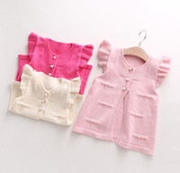 Wholesale Childrens Cardigan Sweaters Wholesale - 2016 New Spring Baby Girls Clothes Bead Cardigan Waistcoats Vest Sweater Fashion Childrens Prubcess for Kids Clothing B4625