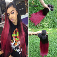 Wholesale Hair Color Pieces Black Red - Ombre Human Hair Extensions Virgin Brazilian Peruvian Malaysian Indian Straight Rose Purple Red Black 2 Two Tone Ombre Hair Weave Bundles