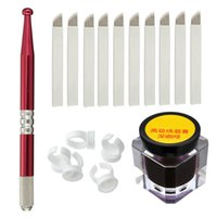 Wholesale Permanent Kit - Semi-Permanent Eyebrow Makeup Microblading Manual Tattoo Pens + 18 Pins Needles + Ring Ink Cup + Tattoo-Ink