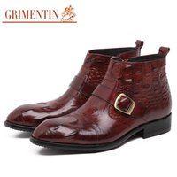 Wholesale Comfortable Boots For Men - Wholesale- GRIMENTIN brand mens motorcycle ankle boots genuine leather comfortable zipper cowboy style men dress shoes for business zb353