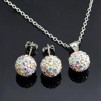 белые шамбалы оптовых-высокое качество позолоченный серебряный женщины ювелирные изделия Ab белый 10 мм мяч серьги ожерелье Шамбала комплект 24 цвета