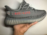 Wholesale New Solar - 2017 SPLY-350 Boost V2 New Kanye West 350 Boost V2 Beluga 2.0 AH2203 Solar red SPLY 350 Running Shoes Grey Orange