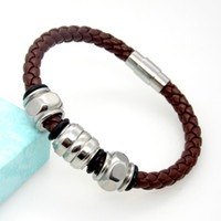 Wholesale Titanium Snap Link Bracelets - Men's Jewelry Multiple Styles Leather Braided Bangle&Bracelet Titanium Stainless Steel Bracelet With Magnetic Snap Mix Wholesale