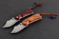 mejor cuchillo de nylon al por mayor-Promoción damasco cuchillo plegable Rosewood mango EDC cuchillos de bolsillo con bolsa de nylon y caja al por menor mejor regalo para niños herramientas EDC