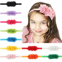 Wholesale Baby Flower Headband Chiffon - Baby Headbands Flower Kids Elastic Chiffon Headband for Girls Children Hair Accessories Newborn 3 Flower Hairbands Baby Headwear KHA155