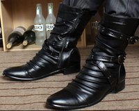 Wholesale Tall Male Boots - New Arrival Hot Sale Fashion Martin Side Zip Velvet Male Cowboy Tidal Rivets Martin Handsome Tall Canister Men Ankle Boots EU37-43