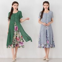 Wholesale Linen Summer Work Clothes - 2017 Summer dress Chinese style Loose Plus size Women's Clothing Faux Two Pieces Short Sleeve Print A-Line Dresses