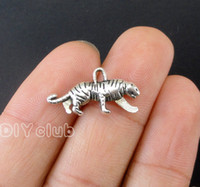 80pcs-Antique Silver / Bronze Tigre Moose Ram Kangaroo Deer Cat Mouse Charms Pendentif 2 Sided Connector Lovely Bricolage Bijouterie