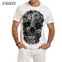 Wholesale T Shirt Skate Wholesale - Wholesale- E-BAIHUI mens t shirts fashion Skull 3d t shirt men Hip Hop Men T-shirt Casual tops tees Fitness Skate Swag marcelo burlon Y049