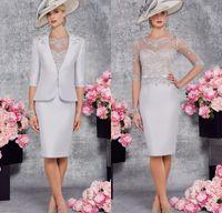 Wholesale Elegant Knee Length - Simple Elegant Knee Length silver Mother of the Bride Dresses 2017 Half Sleeves Formal Evening Gown mother of the groom dresses
