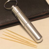 Wholesale pocket toothpick - Wholesale- New Fashion Portable 1PCS Aluminium Alloy Metal Pocket Toothpick Holder with Keychain Traveling Keychain Toothpick Box