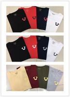 polo negro para hombre al por mayor-De alta calidad EE. UU. Rojo negro blanco para hombre Robin True Jeans Crew polo con alas Real American Jeans Club delgado abrigo camiseta