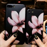 Wholesale Cheap Fashion Phone Cases - Cheap Fashion 3D White Flower Paint Phone Case For iPhone 6 6P 7 8 Vintage Soft TPU Cover Cases Coque For iPhone7 Plus