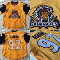 Wholesale Game Worn Jersey - Men's #92 Peter Sakaris Game Worn Shawinigan Cataractes Jersey Evansville Icemen 100% Stitched Embroidery Logos Throwback Hockey Jerseys