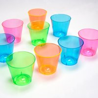 Wholesale Disposable Shot Glasses - Wholesale- Free Shipping Wedding Party Suppliers Disposable Hard Plastic Shot Glass 1 oz. Capacity Assorted Pink Green Blue Orange 120 Pack