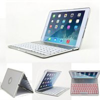 Wholesale Alloy Keyboard - Luxury Aluminum Alloy Wireless Bluetooth Keyboard Cover Cases With Backlight For iPad Air 2 Wholesale 10pcs lot Free DHL