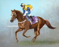 Wholesale Oil Painting Horses Racing - Framed RACE HORSE,100% Handcrafts High Quality Modern RACE Art Oil Painting On Thick Canvas,Multi Sizes Available Free Shipping tn 043