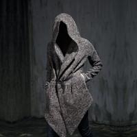 Wholesale Men S Cashmere Coat Belt - Wholesale- Autumn winter men gothic hooded trench coat black punk personality cloak robe mens harajuku woolen long coat cape swag overcoat