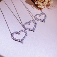 Wholesale Large Yellow Necklace - Classic S925 sterling silver love necklace Japan and South Korea star with the paragraph 2.5CM large peach heart chain chain ornaments femal