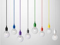 çok renkli led ışık toptan satış-Renkli Sarkıt 1 Kafa Çok renkli Silikon Modern Bar Restoran Yatak Odası Için E27 Sanat Kolye Işıkları Alışveriş Merkezi