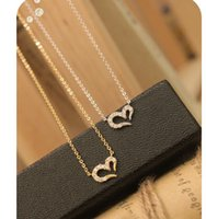 Collier de mode Full Diamond Collier Coeur Love Necklace Wish Mesdames Clavicule en forme de coeur Bijoux en gros de la Chine