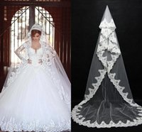 Wholesale 2017 Cheap In Stock Long Bridal Veils Lace Bridal Wedding Accessories Long Appliques Edged Cathedral Formal Wedding Veils