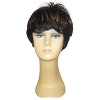 Wholesale Short Wig Cap - Fashion Hairstyles Synthetic Hair Wigs Short Straight Cheap Mix Color Wigs Adjustable Cap Party Wigs