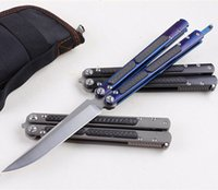 Wholesale Ceramic Combat Knives - Covenant Balisong Butterfly Knives KVT Ceramic ball bearing S35VN BladeTC4+CF Handle Stonewash Finsh BM51 bm42 1pcs