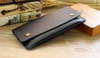 Wholesale Thin Leather Man Bags - New women&men long style Genuine cow leather wallet restoring ancient thin mobile phone clasp card bag popular clutch purse no40