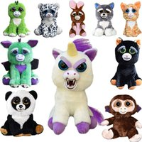Wholesale Cute Plush Animal Toys - Feisty Pets Plush 22cm One Second Change Face Animal Plush Toys Cute Expression Kids Stuffed Doll 13 Styles OOA3486