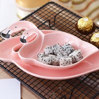 Wholesale Snack Bowls - Ceramic Bowl Creative Cartoon Flamingo Shape Practical Food Container Rice Fruit Salad Snacks Tray Home Decor Plate 13 55mx2 F R
