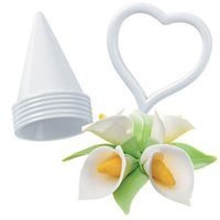 Wholesale Lily Cutter - Wholesale- 6Pcs Set Icing Fondant Cake Decorating Calla Lily Flower Cookie Cutter Mold Diy Set Bakeware Tools A620