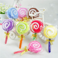 Wholesale Towels Birthday Gift - 15Pcs Lot Holiday Decoration Christmas Gift Lollipop Towel Wedding Gifts Birthday Gift Ideas 20cmX20cm Multicolor