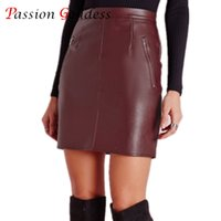 2016 Plus Size Fashion Sexy Womens Röcke High Taille Faux PU Leder Zipper Bodycon Slim Solid weiblichen kurzen Mini Bleistift Rock q170697
