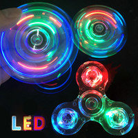 Wholesale Rainbow Flashing - LED Crystal Tri Spinner Rainbow Fidget Spinner Aluminum Colorful EDC Gyro Toys Hand Fidget Spinners Jelly Clear Fidget Spinner OTH440