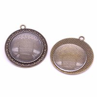 Wholesale Wholesales Glass Jewelry Trays - Sweet Bell 5set Antique Bronze Cameo 40*44mm(Fit30mm dia)Pendant Setting Jewelry Blank Pendant Tray+Clear Glass Cabochon A4015-1