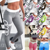 Wholesale Pattern Leggings Xl - Letter Print Pattern Yoga Pants Women Fitness Trousers Leggings Breathable Running Tights Sport Gym Leggins Athletic Workout Sportswear New