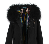 Wholesale Real Fur Trimmed Coats Women - Cold winter fur parkas Black fur trim multicolour Grass rabbit fur lined canvas black mini parka real rabbit fur lined coats