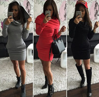 Wholesale Long Hooded Women S Sweater - Europe and the United States women 's three - color hooded sweater package hip long - sleeved warm dress QW77