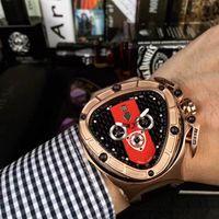 Wholesale Cow Leather Watches - Mad cow shape black dial 3015 Spyder Men's Chronograph Watch 50mm original Japanese quartz movement Oversized size watch Cowhide strap