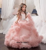 Wholesale Applique Designs For Wedding Dresses - New Arrival Glitz Pageant Dresses Crystal Kids Frock Designs Uniques First Communion Dress For Girls kids Evening Gowns Ball